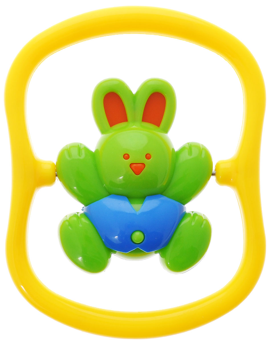 Игрушка-погремушка Малышарики Зайка на качелях, цвет: зеленый, желтый погремушки tomy погремушка зайка белла