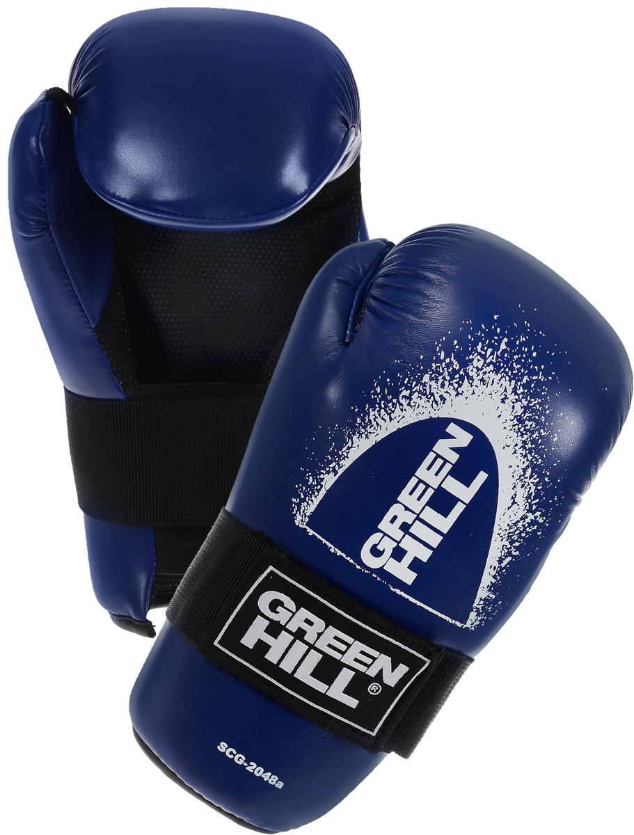 Перчатки для контактных единоборств Green Hill 7-contact, цвет: синий. Размер M