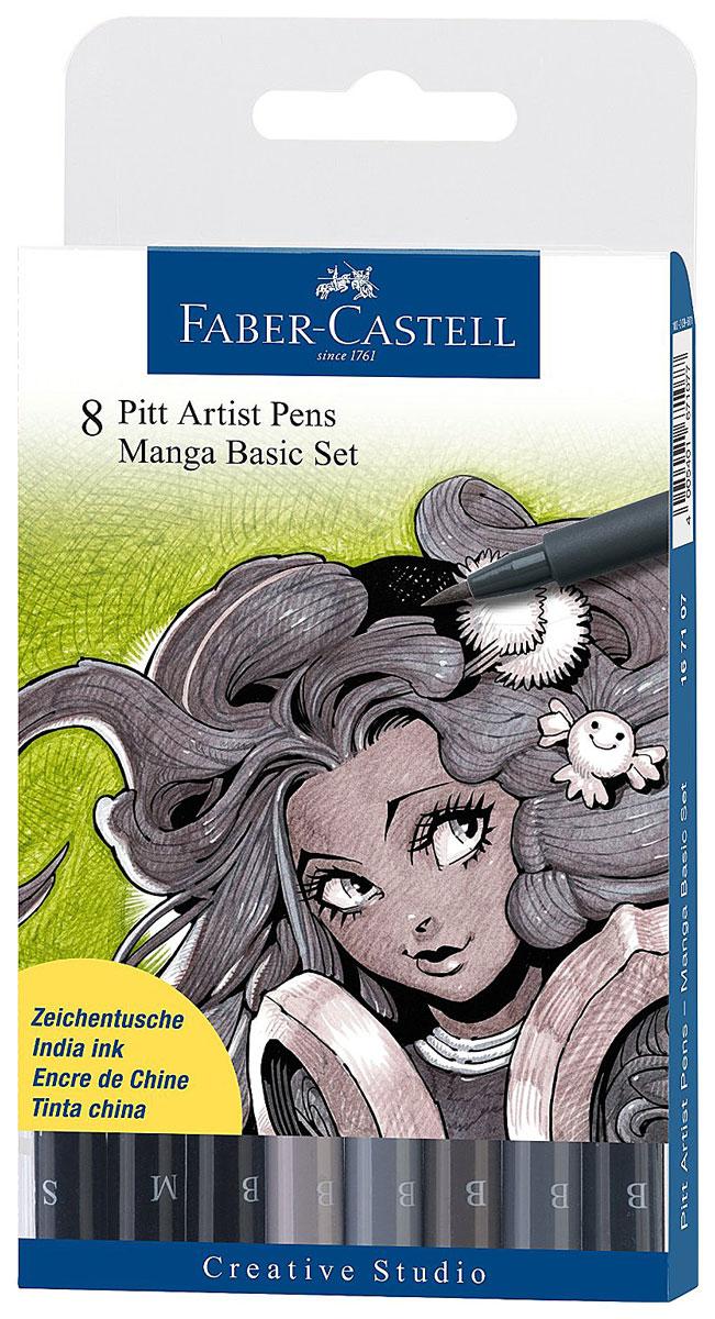 Faber-Castell Ручки капиллярные Manga, 8 цветов167107Набор из восьми ручек для рисования Manga от Faber-Castell включает в себя 6 ручек для рисования с мягкими фломастерными наконечниками (эффект кисти, живые штрихи, реагирующие на силу нажатия) и 2 линера с твердыми волокнистыми кончиками (0.3 и 0.7 мм). Цвета ручек-кисточек: черный, теплый серый III, IV, холодный серый III, IV, VI. Линеры - 0.3 мм и 0.7 мм, черные. Водостойкие пигментные чернила очень быстро высыхают, устойчивы к выцветанию, не содержат вредных кислот, ph-нейтральны.