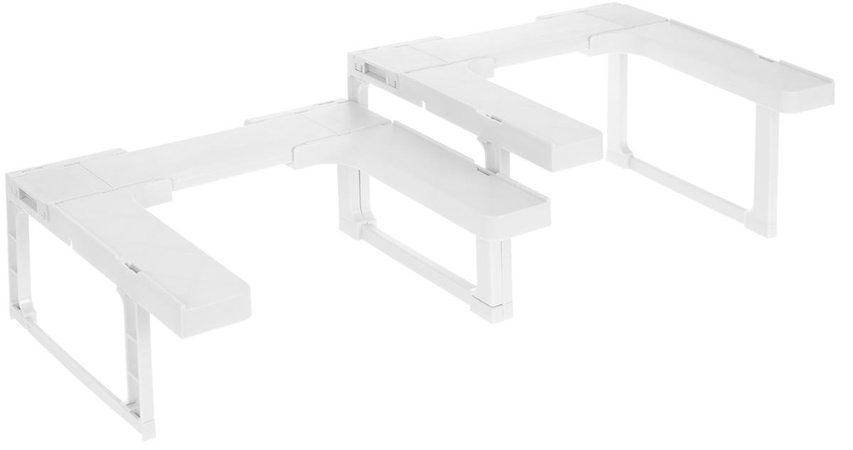 Полка для специй Bradex, цвет: белый, 2 штCM000001326Удобная полка для хранения специй и лекарств Bradex, выполненная из высокопрочного ABS-пластика, легко собирается и регулируется в соответствии с размерами вашей кухни или ванны. Удобная конструкция полки также позволяет хранить на ней сразу два ряда баночек и бутылочек. А главное – все они будут на виду! Изделие гармонично впишется в любой интерьер. Полочки удобно чистить, на них не скапливается лишняя грязь и не образуется плесень. Полка комплектуется ножками разной высоты.Минимальная ширина одной полки: 20 см.Максимальная ширина двух полок (расположенных рядом): 84 см.Высота ножек: 9,5 см; 14 см.