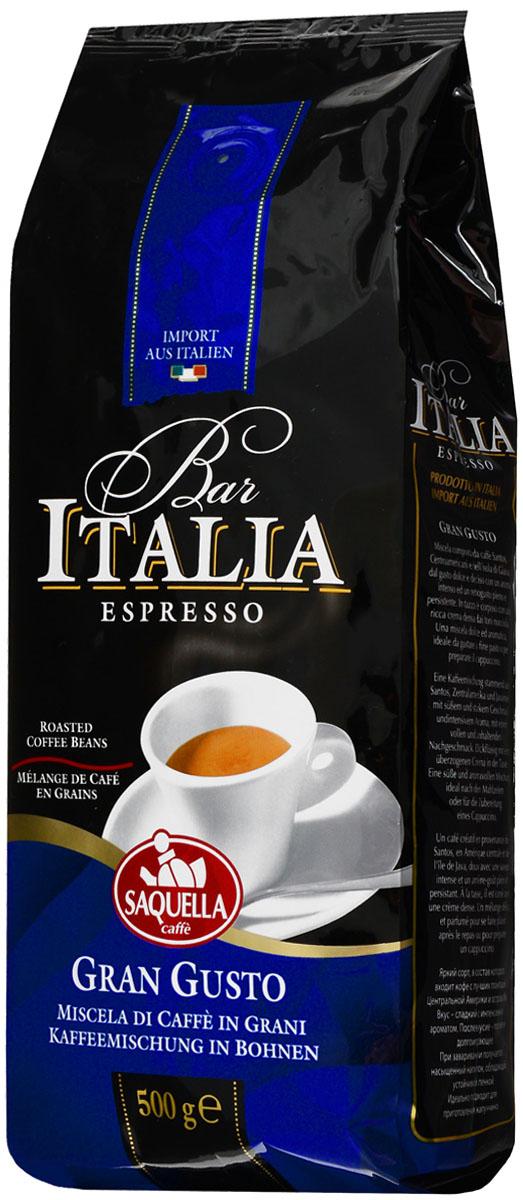 Saquella Bar Italia Gran Gusto кофе в зернах, 500 г101246Saquella Bar Italia Gran Gusto - яркий сорт, в состав которого входит кофе с лучших плантаций Сантоса, Центральной Америки и острова Ява. Вкус этого кофе - сладкий с интенсивным ароматом. Послевкусие - плотное и долгоиграющее. При заваривании получается насыщенный напиток, обладающий устойчивой пенкой. Идеально подходит для приготовления эспрессо и капучино.