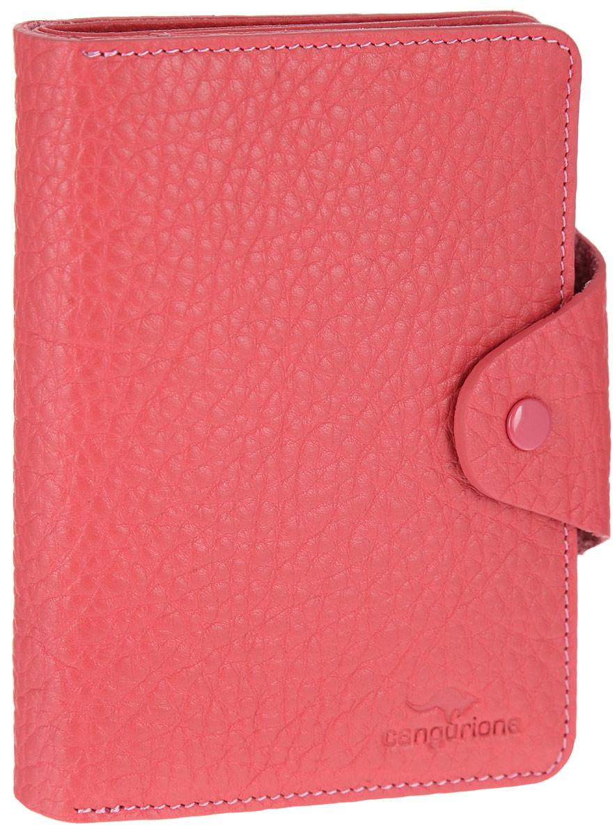Портмоне женское Cangurione, цвет: розовый. 2135-010 F1-022_516Оригинальное женское портмоне Cangurione станет стильным аксессуаром, идеально подходящим вашему образу. Портмоне выполнено из натуральной кожи с фактурным тиснением и закрывается на клапан с кнопкой. Модель имеет лицевой накладной карман для мелочи, закрывающийся на клапан. Внутри одно отделение для купюр, два окошка с сеточкой для фото, восемь скрытых карманов и девять прорезей для пластиковых карт или визиток. Упаковано портмоне в фирменную коробку. Такое портмоне станет замечательным подарком человеку, ценящему качественные и практичные вещи.