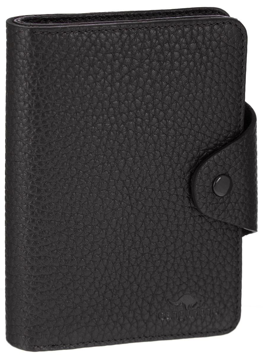 Портмоне Cangurione, цвет: черный. 2135-001BM8434-58AEОригинальное портмоне Cangurione станет стильным аксессуаром, идеально подходящим вашему образу. Портмоне выполнено из натуральной кожи с фактурным тиснением и закрывается на клапан с кнопкой. Модель имеет лицевой накладной карман для мелочи, закрывающийся на клапан. Внутри одно отделение для купюр, два окошка с сеточкой для фото, восемь скрытых карманов и девять прорезей для пластиковых карт или визиток.Упаковано портмоне в фирменную коробку. Такое портмоне станет замечательным подарком человеку, ценящему качественные и практичные вещи.