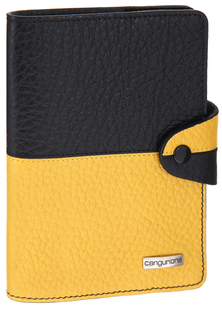 Обложка для паспорта CANGURIONE, цвет: черный, желтый. 3326-F907035 brownСтильная обложка для паспорта CANGURIONE выполнена из натуральной кожи контрастных оттенков с зернистой текстурой. Обложка оформлена металлическим элементом с названием бренда. Изделие закрывается на хлястик с кнопкой.Элегантная обложка CANGURIONE не только поможет сохранить внешний вид ваших документов и защитить их от повреждений, но и станет стильным аксессуаром, идеально подходящим к вашему образу.