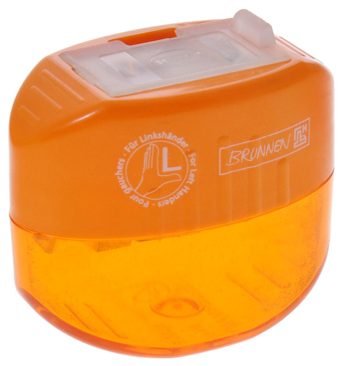 Brunnen Точилка двойная, для левшей, цвет: оранжевый263223Точилка двойная для левшей Brunnen, выполнена из прочного пластика.В точилке имеются два отверстия для карандашей разного диаметра, подходит для различных видов карандашей. Отверстия закрываются удобной пластиковой крышкой.Полупрозрачный контейнер для сбора стружки позволяет визуально контролировать уровень заполнения и вовремя производить очистку.