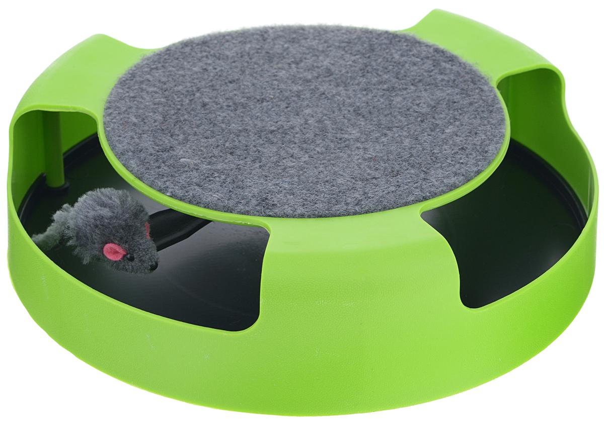 Когтеточка для кошек Bradex Мышелов, с игрушкой, цвет: зеленый, черный0120710Когтеточка Мышелов, изготовленная из прочного пластика и ковролина, безусловно, станет подспорьем для вас и любимым развлечением вашей кошки.Это совсем небольшое по своим размерам устройство, которое имитирует процесс охоты за мышью! На специальной платформе находится игрушечная мышь, выполненная из текстиля. Наверняка ваша кошка полюбит гонять ее лапой по кругу. Сверху этой платформы находится удобная когтеточка. Вы сможете не только с комфортом держать её даже в небольшой квартире при минимуме пространства, но и брать с собой в дальние поездки, не позволяя вашему питомцу расставаться с ней. Отлично подойдёт любому коту, независимо от его породы, возраста и веса!Если вы заботливый хозяин, вы выберете для своего любимца самое лучшее, а именно компактную и практичную когтеточку Мышелов.Размер когтеточки: 25 см x 25 см х 6,5 см.Размер игрушки: 5 см х 3 см х 2,5 см.