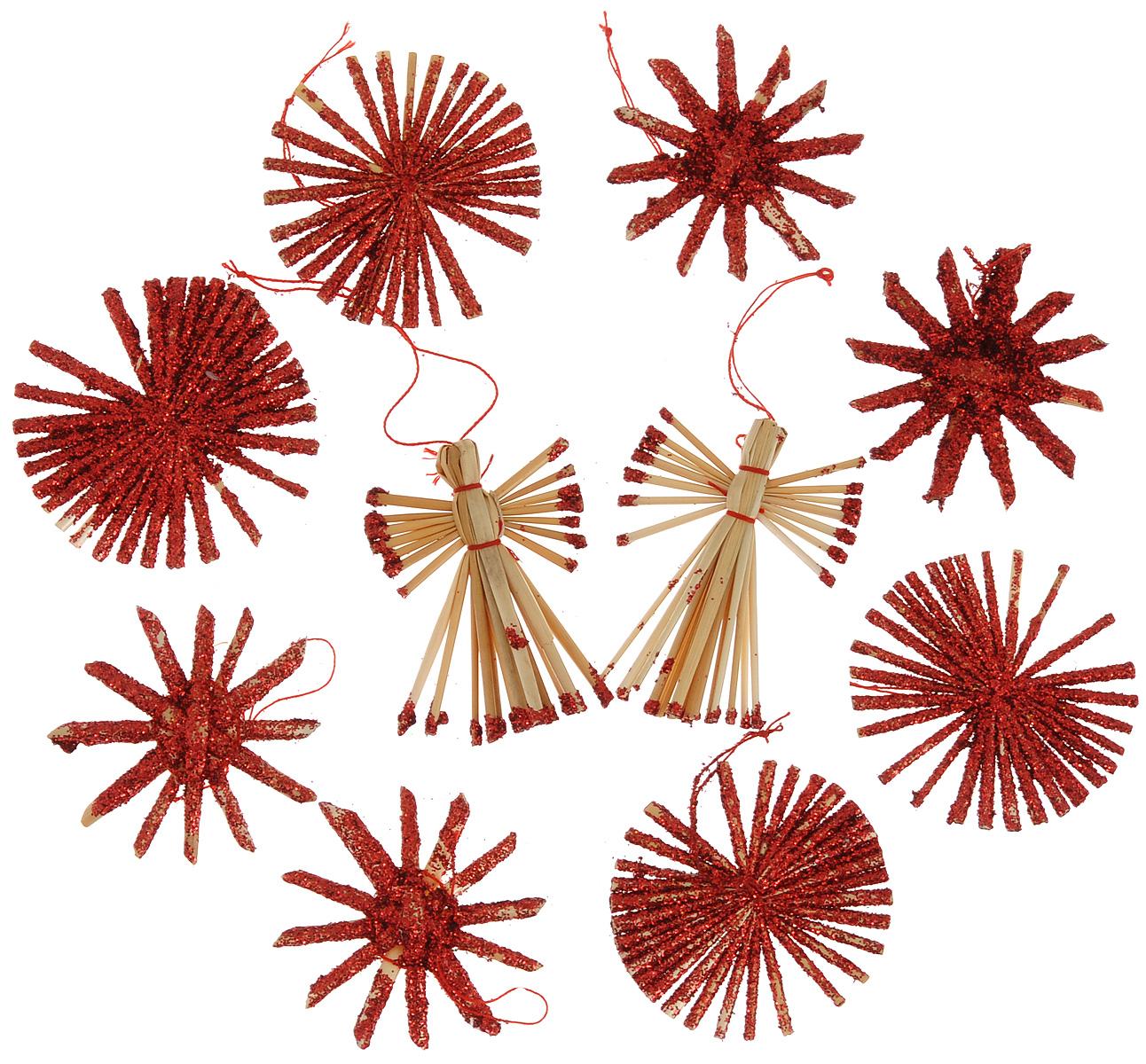 Набор новогодних подвесных украшений Феникс-презент Ангелы и звезды, цвет: красный, светло-коричневый, 10 шт39440Набор Феникс-презент Ангелы и звезды, состоящий из 10 новогодних подвесных украшений, отлично подойдет для декорации вашего дома и новогодней ели. Изделиявыполнены из соломы в виде ангелочков и звезд, оформленных блестками. Украшения имеют специальные петельки для подвешивания. Коллекция декоративных украшений Феникс-презент Ангелы и звезды принесет в ваш дом ни с чем не сравнимое ощущение праздника!Средний размер украшения: 5,5 см х 5,5 см.