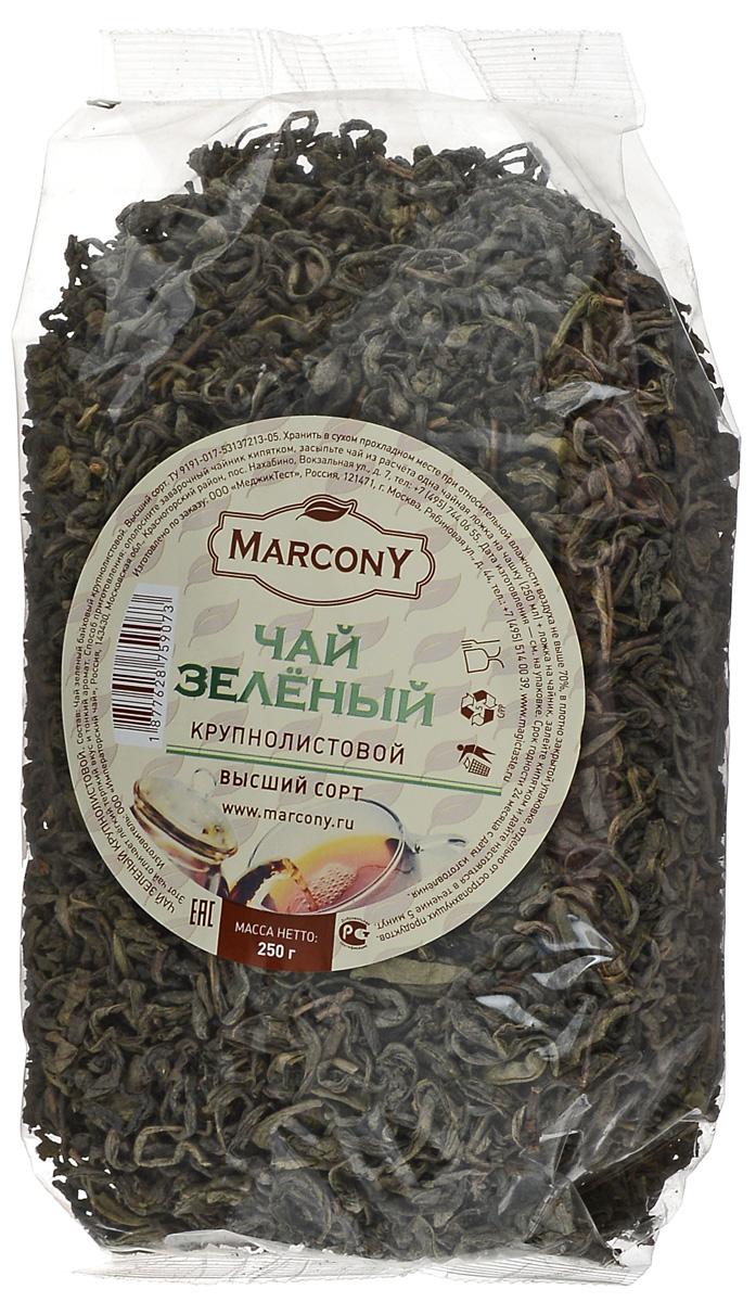 Marcony зеленый листовой чай, 250 г0120710Зеленый чай Marcony - бленд крупнолистовых сортов китайского чая. Имеет тонкий аромат и немного терпкий вкус, напоминающий мускатный виноград. Этот чай отлично освежит и предаст сил в жаркий, летний день.