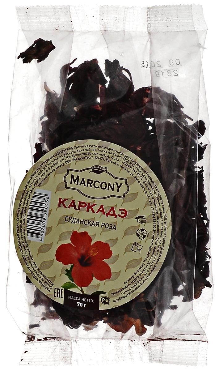 Marcony Суданская роза чай каркадэ, 70 г4602009390432Marcony Суданская роза - ароматный чай каркадэ. Настой напитка имеет сладковато-кислый вкус. Цвет варьируется от ярко красного до бордового. Ароматный и бодрящий напиток из лепестков гибискуса идеален для употребления в жару в качестве прохладительного напитка.