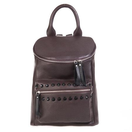 Рюкзак женский Ors Oro, цвет: темно-коричневый. D-13823008Рюкзак выполнен из экокожи. Изделие закрывается застежку-молнию с двумя бегунками. На лицевой стороне - три кармана на застежках-молниях. Один из карманов декорирован черными пластиковыми шипами. Внутри - большое отделение, которое дополнено одним втачным карманом на застежке-молнии и двумя не большими накладными кармашками для телефона и разных мелочей. Изделие оснащено удобными плечевыми лямками, которые регулируются по длине.В этом сезоне этот модный аксессуар поможет вам быть в тренде!