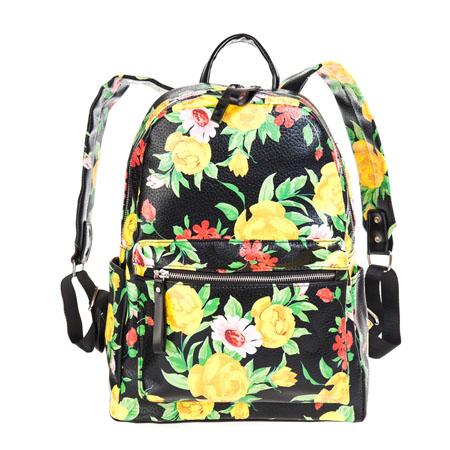 Рюкзак женский Ors Oro, цвет: черный, жетый, зеленый, красный. D-139BA9334Стильный женский рюкзак Ors Oro выполнен из экокожи с зернистой фактурой, оформлен металлической фурнитурой и цветочным принтом.Изделие содержит одно отделение, закрывающееся на металлическую застежку-молнию. Внутри расположен два накладных кармана для телефона или мелочей и врезной карман на молнии. Снаружи, на передней стенке рюкзака расположен объемный накладной карман на молнии. По бокам расположены два открытых накладных кармана. Изделие дополнено практичной петлей для подвешивания и двумя лямками, длина которых регулируется при помощи пряжек.Рюкзак Ors Oro прекрасно дополнит образ и подчеркнет ваш стиль.