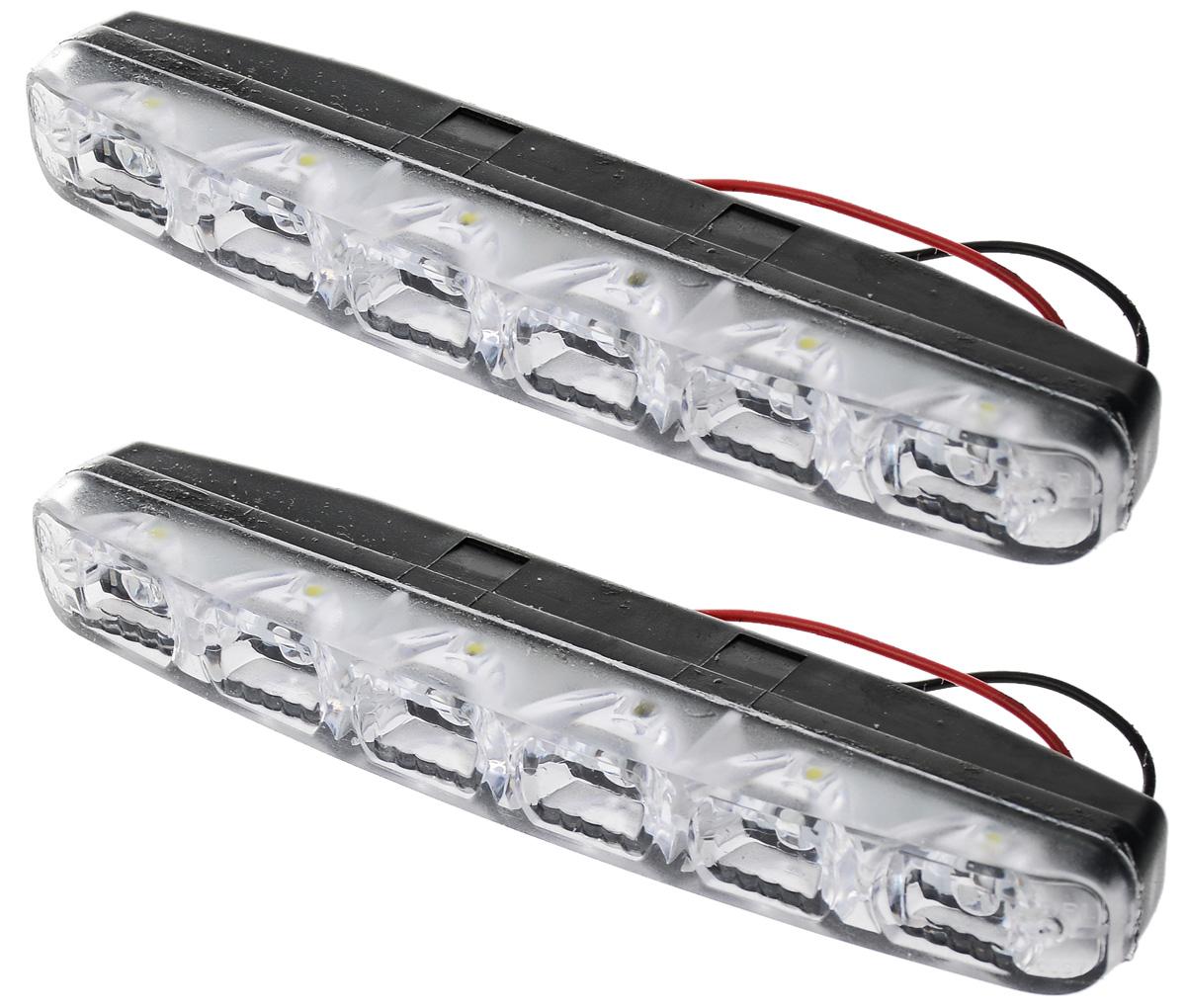 Дневные ходовые огни AVS DL-6A, 2 шт2615S545JBДневные ходовые огни AVS DL-6A - это лампы грузового или легкового автомобиля, используемые для повышения видимости автотранспортного средства в дневное время.Напряжение: 12 В.Общая мощность: 6 Вт.Количество светодиодов: 6 х 2.Модель светодиода: Epistar (SMD 5050 0,5W).Температура свечения: 5000 К.Общий световой поток 540 Лм.IP защита: 55 (5-защита от проникновения пыли в количествах, не влияющих на работоспособность изделия, 5-защита от струй воды во всех направлениях).