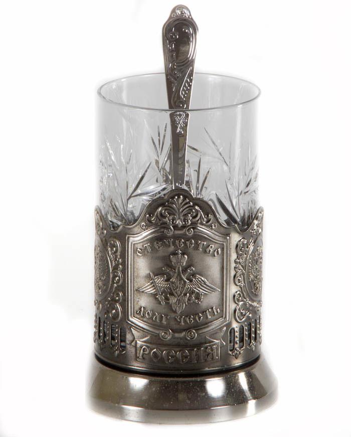 Подстаканник никел.Отечество Долг ЧестьVT-1520(SR)Подстаканник никелерованный. Нанесение штамп.В комплекте стакан хрустальный и чайная ложка. Упаковка подарочный футляр посуда из нейзильбера,латуни с хромовым или никелевым покрытием