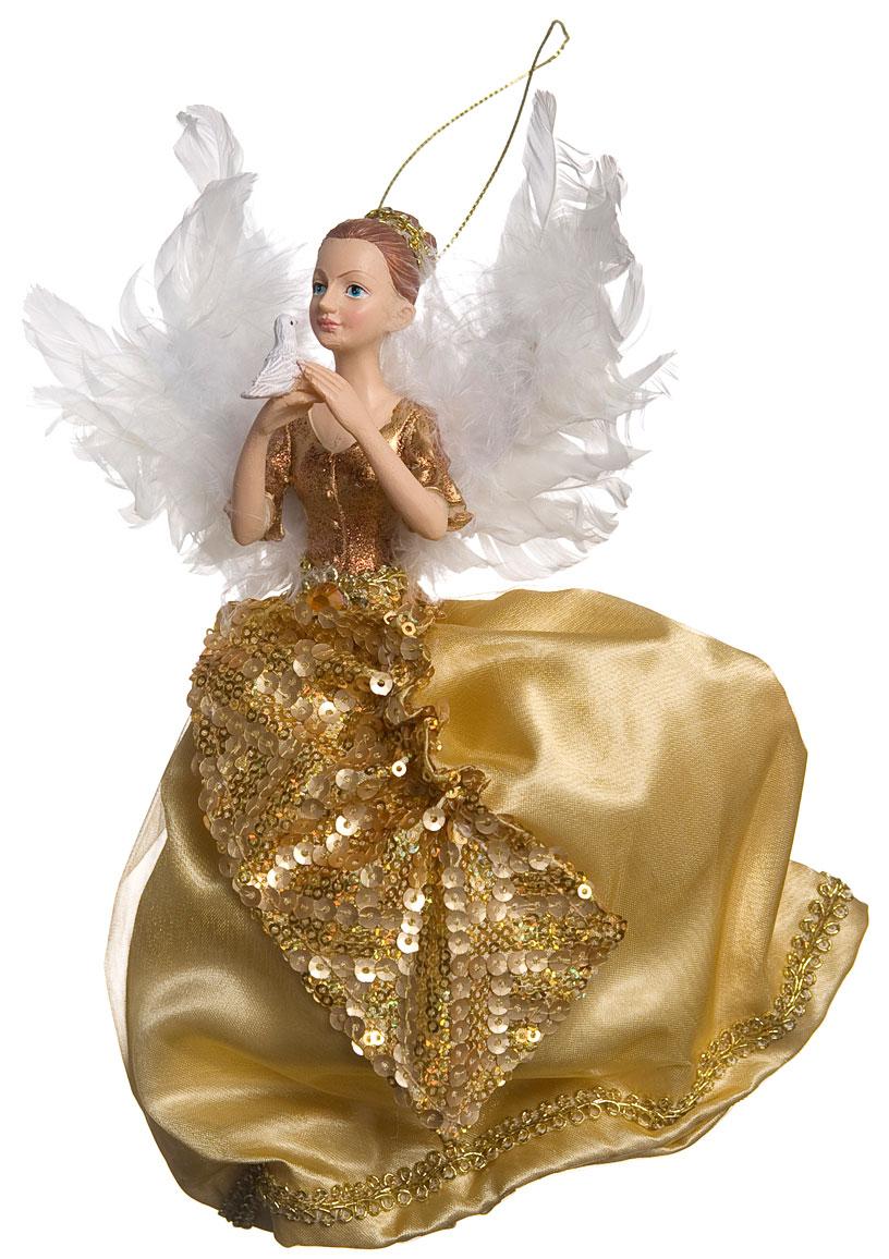 Новогоднее подвесное украшение Its a Happy Day Ангел Рождества, цвет: золотой, белый, 23 х 5 х 22 см09840-20.000.00Новогоднее подвесное украшение Its a Happy Day Ангел Рождества выполнено из высококачественного полирезина и полиэстера в форме ангелочка с птицей в руках. С помощью специальной петельки украшение можно повесить в любом понравившемся вам месте. Но, конечно, удачнее всего оно будет смотреться на праздничной елке.