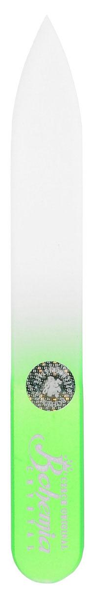 Bohemia Пилочка для ногтей, стеклянная, чехол из мягкого пластика, цвет: зеленый. 090257201 салатовыйСтеклянная пилочка Bohemia подходит как для натуральных, так и для искусственных ногтей. Она прекрасно шлифует и придает форму ногтям. После пользования стеклянной пилочкой ногти не слоятся и не ломаются. При уходе за накладными ногтями во время работы ее рекомендуется периодически смачивать в воде. Поверхность стеклянной пилочки не поддается коррозии.К пилочке прилагается замшевый чехол.Материал пилочки: богемское стекло.