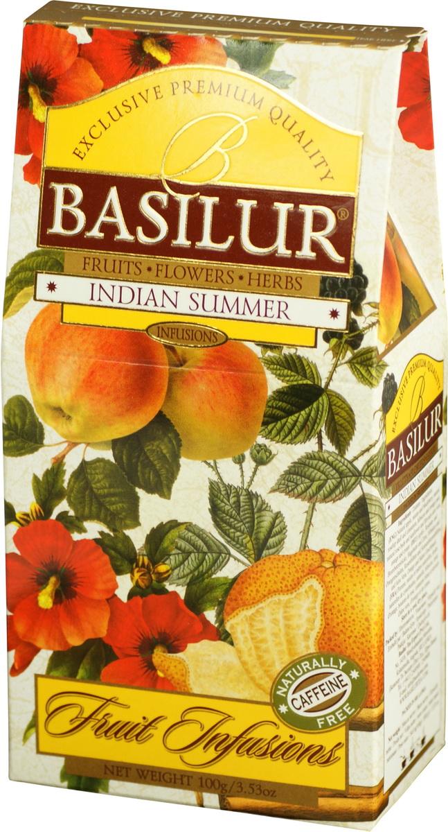 Basilur Indian Summer фруктовый листовой чай, 100 г70878-00Basilur Indian Summer - композиция из яблока, изюма, шиповника и других компонентов, которые представляют собой богатые ароматы Индии. Напиток будет прекрасным дополнением к любому пряному блюду, а также им можно наслаждаться теплыми летними днями в охлажденном виде.