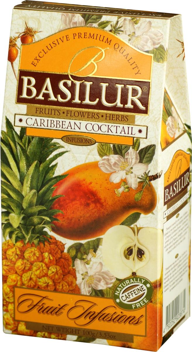 Basilur Caribbean Cocktail фруктовый листовой чай, 100 г70879-00Basilur Caribbean Cocktail перенесет вас на Карибские острова, чтобы насладиться восхитительным сочетанием тропических ароматов Карибского бассейна. Порадуйте себя чудесами волшебных островов с ароматами папайи, ананаса, кокоса и других натуральных компонентов, которые являются идеальным тропическим коктейлем для любого времени суток.