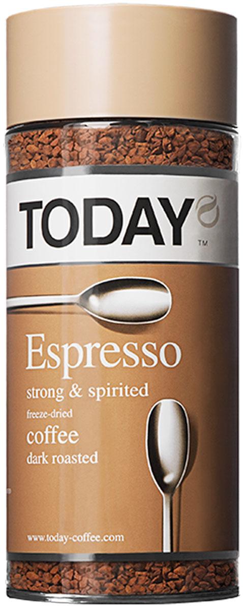 Today Espresso кофе растворимый, 95 г0120710Крепкий и насыщенный кофейный вкус Today Espresso поможет проснуться утром и поддержать силы днем всем любителям настоящего итальянского эспрессо. Приготовлен методом сухой заморозки с использованием эксклюзивной технологии Aroma Optima, которая позволяет сохранить вкус натурального кофе без применения добавок и ароматизаторов.