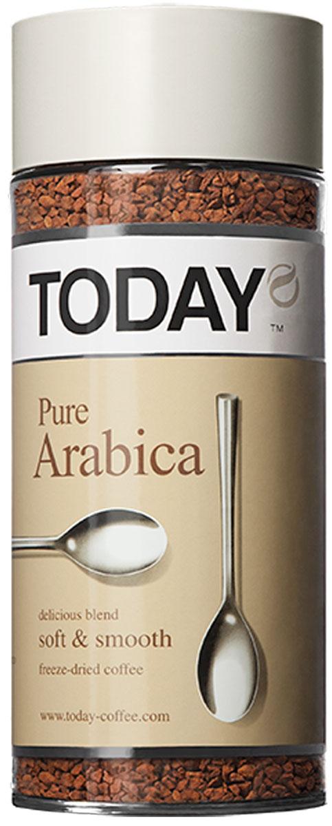 Today Pure Arabica кофе растворимый, 95 г0627-15Отборные зерна Колумбийской Арабики подарили этому кофе мягкий вкус, легкую смородиновую кислинку и тонкую нотку фруктового оттенка. Today Pure Arabica создан для настоящих гурманов! Приготовлен методом сухой заморозки с использованием эксклюзивной технологии Aroma Optima, которая позволяет сохранить вкус натурального кофе без применения добавок и ароматизаторов.