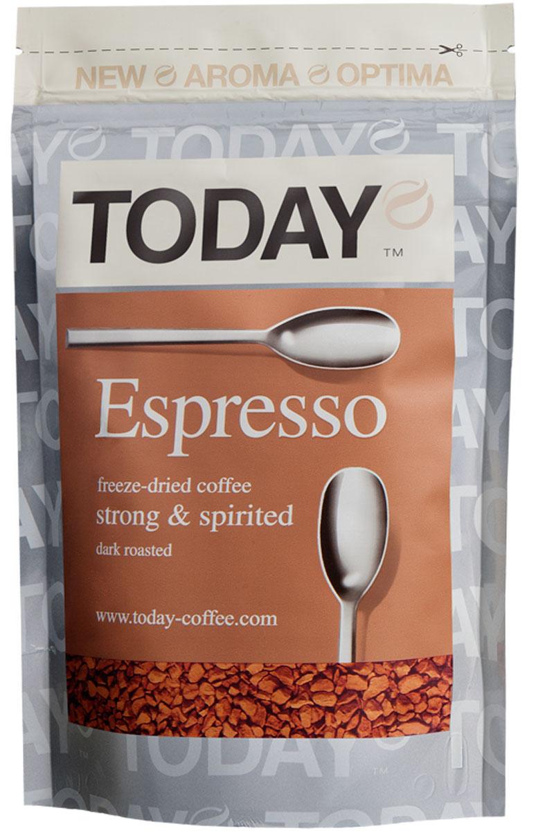 Today Espresso кофе растворимый, 75 г0120710Крепкий и насыщенный кофейный вкус Today Espresso поможет проснуться утром и поддержать силы днем всем любителям настоящего итальянского эспрессо.Изготовлен по уникальной технологии Aroma Optima из отборных зерен Арабики, без применения искусственных добавок. Темная обжарка придает крепость, великолепный вкус и насыщенный аромат натурального свежемолотого кофе.