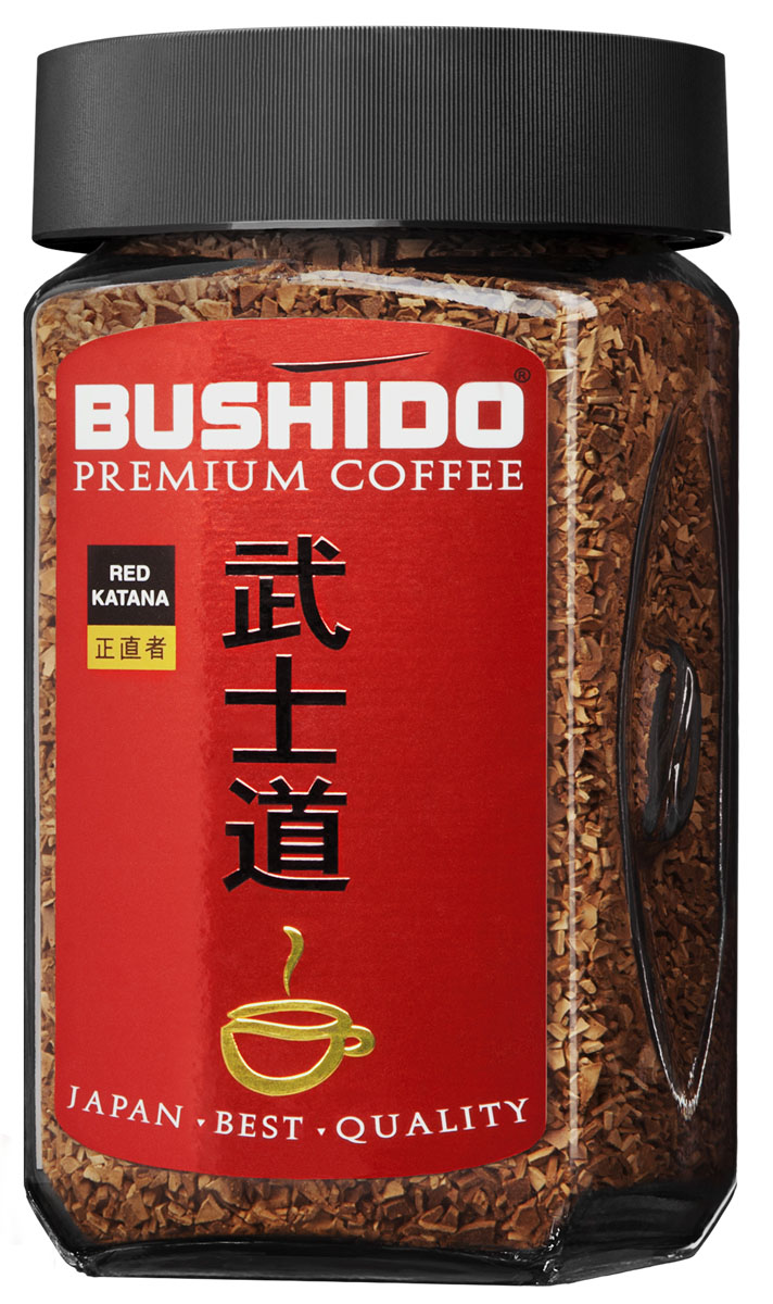 Bushido Red Katana кофе растворимый, 100 г7610121710295Bushido Red Katana изготовлен из арабики, собранной на высокогорных плантациях Восточной Африки. Обладает мягким вкусом и терпким винным ароматом.