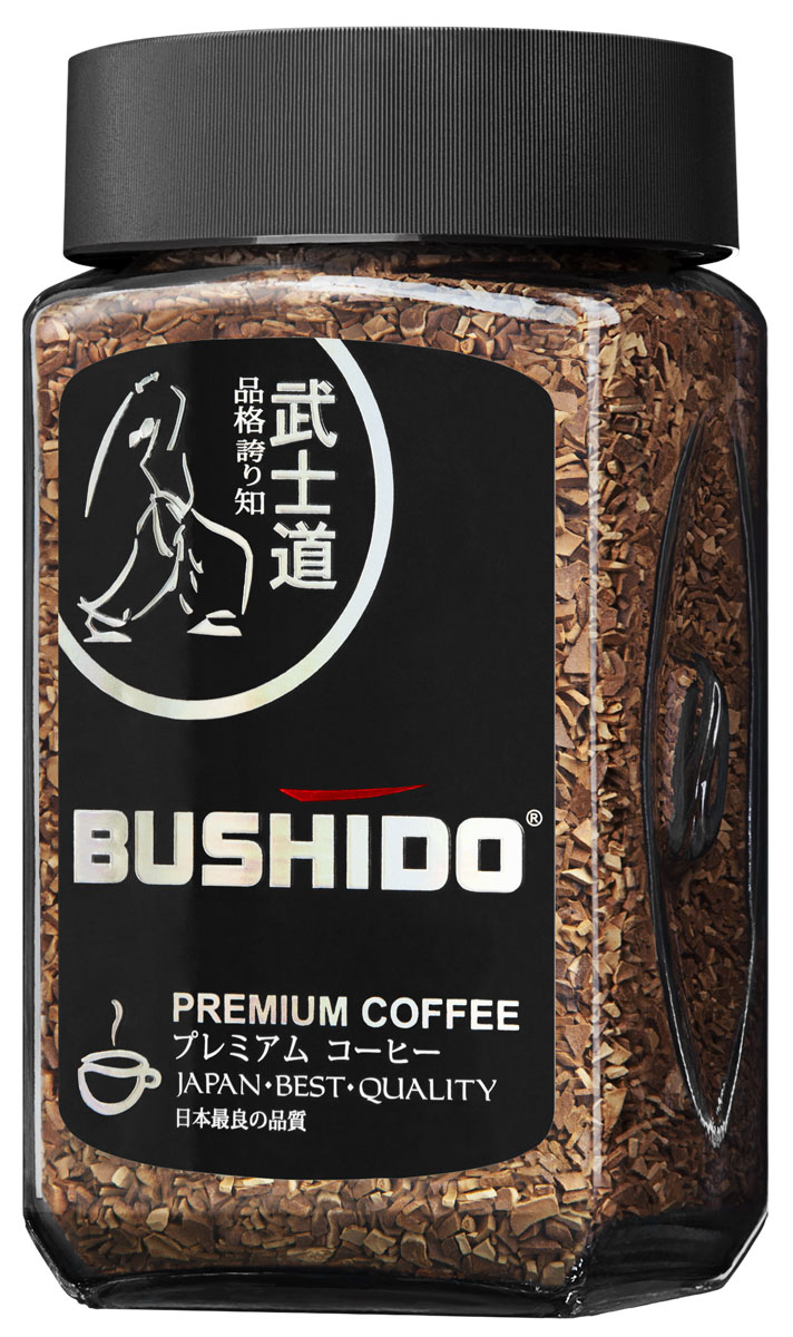 Bushido Black Katana кофе растворимый, 100 г0120710Кофе Bushido Black Katana обладает плотным терпким вкусом с хорошо сбалансированным горьковатым послевкусием и неповторимыми нотками темного шоколада.