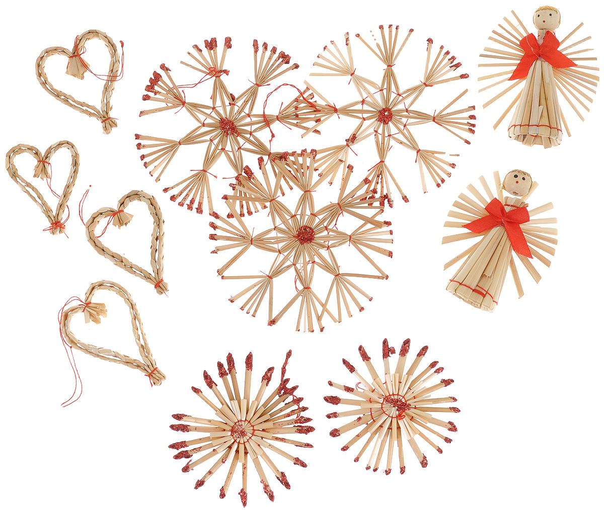 Набор новогодних подвесных украшений Феникс-презент Сердца и звезды, цвет: красный, светло-коричневый, 11 шт38577Набор Феникс-презент Сердца и звезды, состоящий из 11 новогодних подвесных украшений, отлично подойдет для декорации вашего дома и новогодней ели. Изделиявыполнены из соломы в виде сердечек, звезд и ангелочков, оформленных блестками и текстильными бантиками. Украшения имеют специальные петельки для подвешивания. Коллекция декоративных украшений Феникс-презент Сердца и звезды принесет в ваш дом ни с чем не сравнимое ощущение праздника!Средний размер украшения: 8 см х 6,5 см.