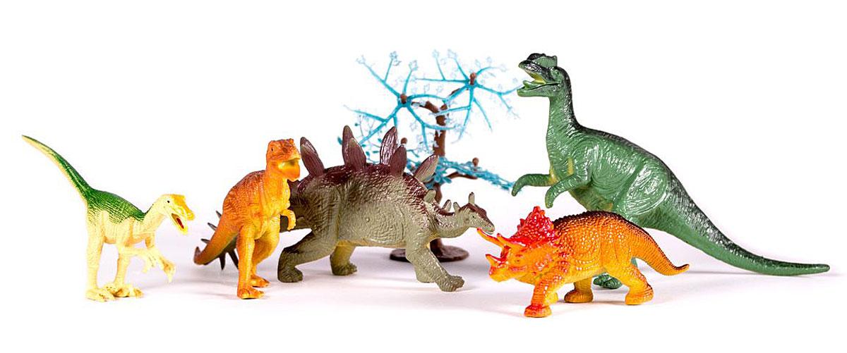 Megasaurs Набор фигурок Динозавры цвет желтый коричневый серый 5 шт фигурка megasaurs тираннозавр с двигающейся пастью цвет оранжевый зеленый
