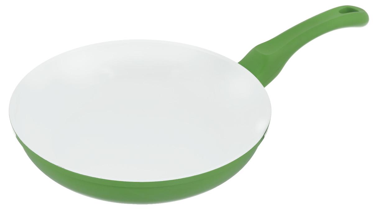 Сковорода Korkmaz Seravita Frypan, с керамическим покрытием, цвет: салатовый, белый. Диаметр 24 смFS-80299Сковорода Korkmaz Seravita Frypan изготовлена из литого высокопрочного алюминия, который быстро нагревается до высокой температуры и равномерно распределяет тепло по всем поверхностям. Керамическое покрытие позволяет нагреваться сковороде до +450°С. Изделие не выделяет токсичных паров при готовке, не содержит тяжелых металлов (таких как свинец и кадмий), его легко мыть и хранить. Сковорода оснащена бакелитовой ручкой с покрытием Soft-touch. При готовке на керамическом покрытии пища не пристает и не пригорает, а масла требуется вдвое меньше по сравнению с другими покрытиями, что позволяет приготовить здоровую, вкусную и полезную пищу без лишних жиров и оксидантов.Можно использовать на газовых, электрических, стеклокерамических плитах. Не подходит для индукционных плит. Можно мыть в посудомоечной машине.Внутренний диаметр: 24 см.Высота стенки: 5,4 см.Толщина стенки: 0,3 см.Толщина дна: 0,4 см.Длина ручки: 17 см.