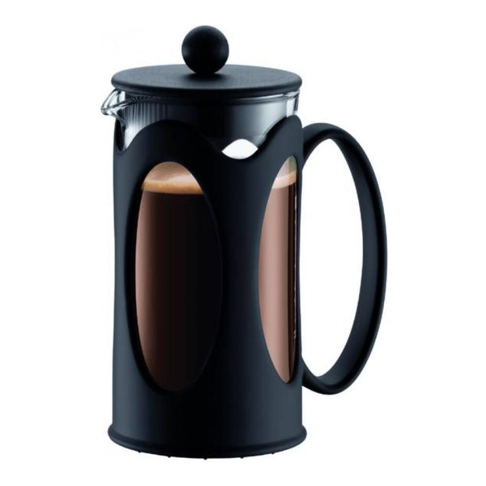 Кофейник Bodum Kenya, с прессом, цвет: черный, 350 млVT-1520(SR)Кофейник Bodum Kenya, колба которого изготовлена из прочного стекла и помещена в металлическую оправу, займет достойное место на вашей кухне. Пластиковая оправа эффективно защищает стекло. Кофейник оснащен фильтром french press из нержавеющей стали и удобной ручкой. Налить кофе в чашку можно, нажав рычаг на кофейнике.Современный дизайн кофейника Bodum Kenya идеально впишется в любой интерьер.