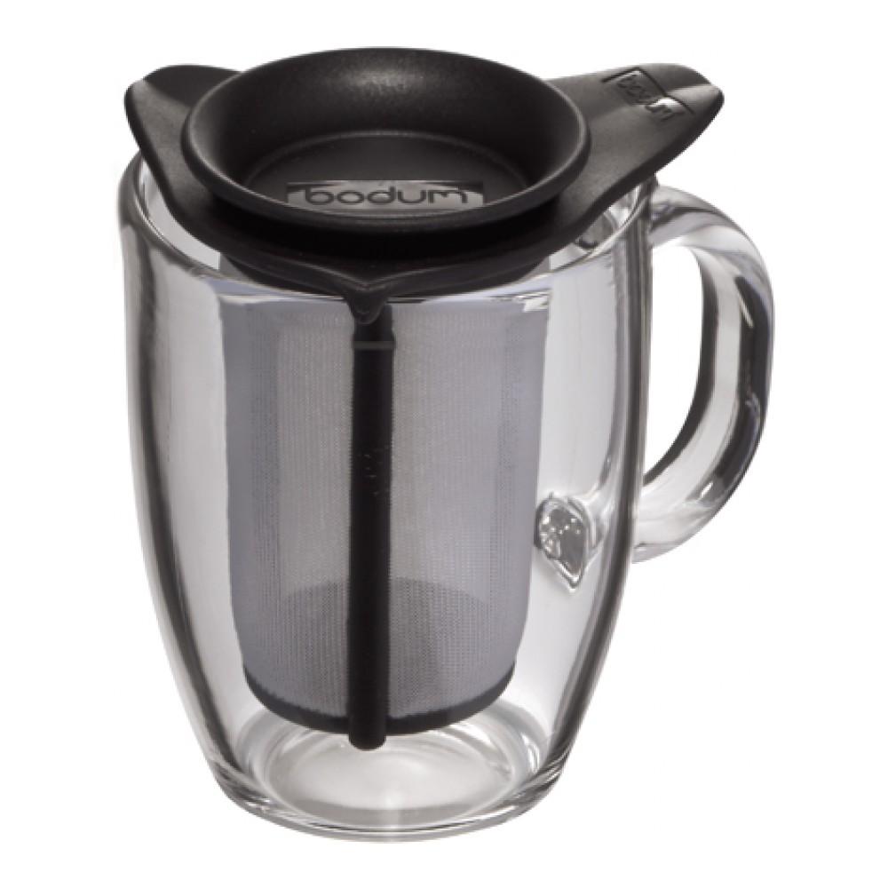Кружка Bodum YO-YO, с фильтром, цвет: черный, 350 мл68/5/4Такая кружка с фильтром невероятно удобна для заваривания чая, а также лечебных трав. Благодаря съемному фильтру, напиток останется чистым.