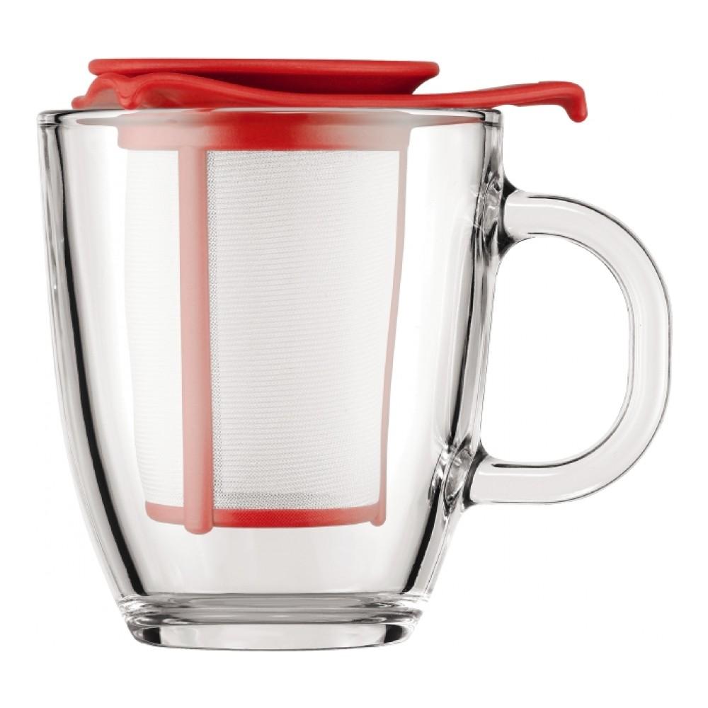 Кружка Bodum YO-YO, с фильтром, цвет: красный, 350 мл68/5/3Такая кружка с фильтром невероятно удобна для заваривания чая, а также лечебных трав. Благодаря съемному фильтру, напиток останется чистым.