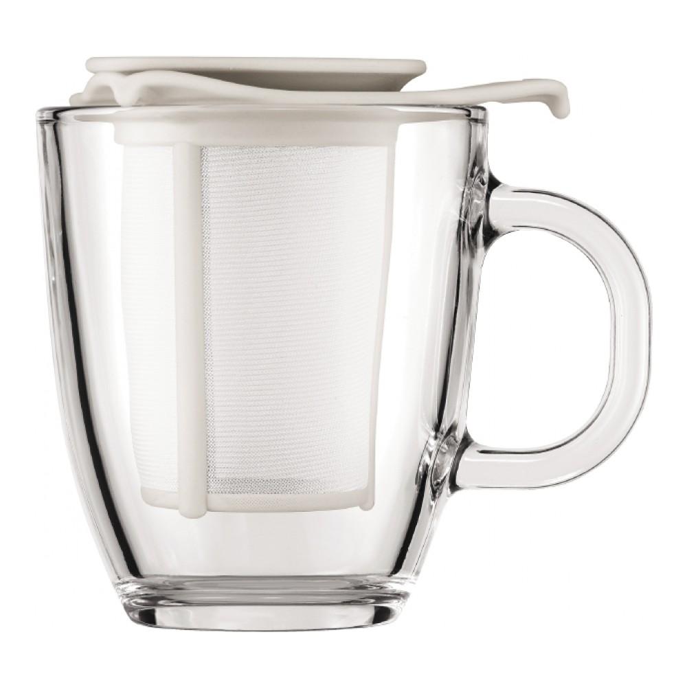 Кружка Bodum YO-YO, с фильтром, цвет: белый, 350 мл115510Такая кружка с фильтром невероятно удобна для заваривания чая, а также лечебных трав. Благодаря съемному фильтру, напиток останется чистым.