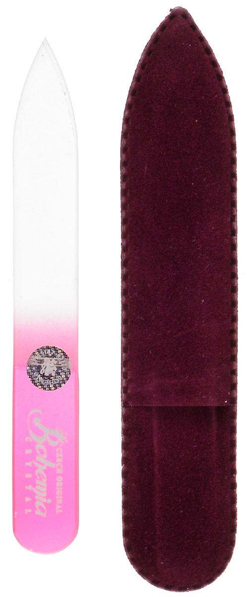 Пилочка для ногтей Bohemia, стеклянная, чехол из замши. 0902, цвет:розовый1092018Стеклянная пилочка Bohemia подходит как для натуральных, так и для искусственных ногтей. После пользования стеклянной пилочкой ногти не слоятся и не ломаются. Эта пилочка прекрасно шлифует и придает форму ногтям. При уходе за накладными ногтями рекомендуем пилочку во время работы периодически смачивать в воде.К пилочке прилагается чехол из замши.