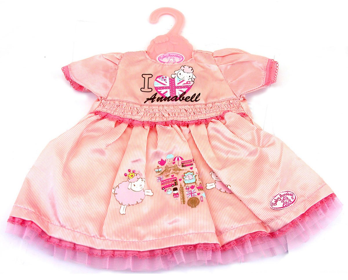 Baby Annabell Одежда для кукол Платье цвет розовый в полоску игра zapf creation my first baby annabell одежда 794 371