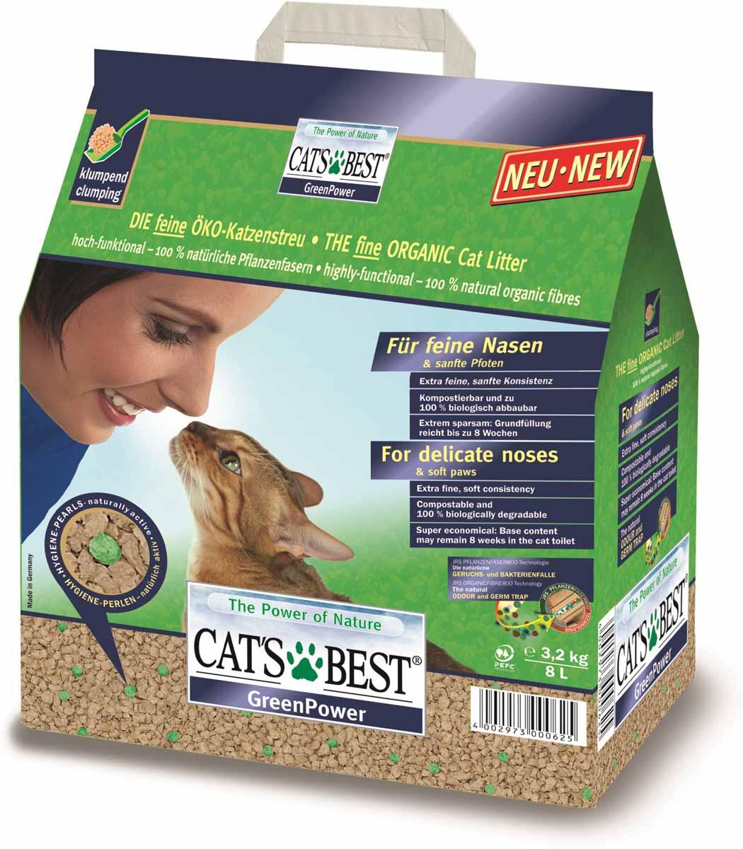 Cats Best Green Power Наполнитель древесный впитывающий 8л*3,2кг101246Древесный комкующийся наполнитель