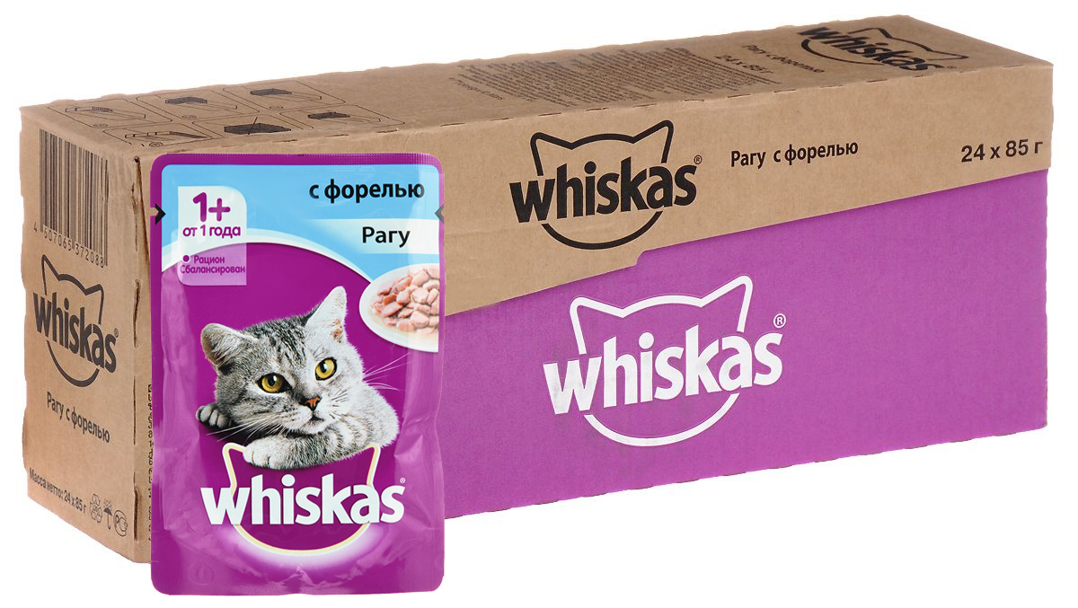 Консервы Whiskas для кошек от 1 года, рагу с форелью, 85 г х 24 шт12171996Консервы для кошек от 1 года Whiskas - полнорационный сбалансированный корм, который идеально подойдет вашему любимцу. Аппетитное рагу приготовлено с учетом потребностей взрослых кошек. Специально сбалансированный рацион содержит все питательные вещества, витамины и минералы, необходимые кошке в этом возрасте. Консервы не содержат сои, консервантов, ароматизаторов, искусственных красителей и усилителей вкуса.В рацион домашнего любимца нужно обязательно включать консервированный корм, ведь его главные достоинства - высокая калорийность и питательная ценность. Консервы лучше усваиваются, чем сухие корма. Также важно, чтобы животные, имеющие в рационе консервированный корм, получали больше влаги.Состав: мясо и субпродукты, рыба (в том числе форель минимум 4%), таурин, злаки, витамины, минеральные вещества.Пищевая ценность в 100 г: белки - 7,3 г, жиры - 4,0 г, клетчатка - 0,3 г, зола - 2,2 г, витамин А - не менее 150 МЕ, витамин Е - не менее 1,0 мг, влага - 83 г.Энергетическая ценность в 100 г: 70 ккал/293 кДж.Товар сертифицирован.В упаковке 24 пакетика по 85 г.