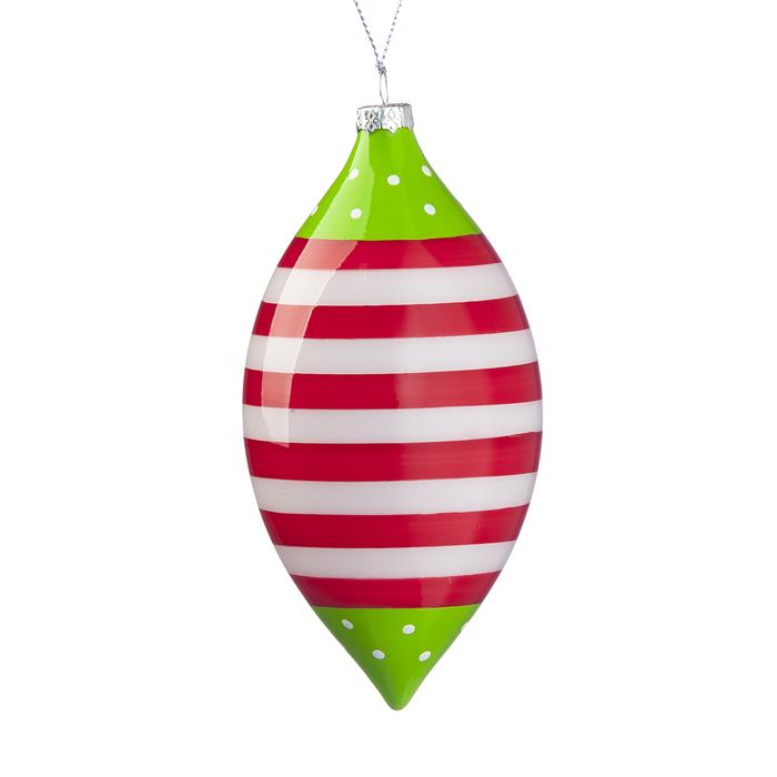 Новогоднее подвесное украшение Its a Happy Day Сосулька, 6,5 х 14 см31066Подвесное украшение Its a Happy Day Сосулька, выполненное из стекла, прекрасно подойдет для праздничного декора вашей ели. Оригинальное новогоднее украшение в виде сосульки оформлено принтом в полоску. С помощью специальной текстильной петельки его можно повесить в любом понравившемся вам месте. Но удачнее всего такая игрушка будет смотреться на праздничной елке. Елочная игрушка - символ Нового года и Рождества. Она несет в себе волшебство и красоту праздника. Создайте в своем доме атмосферу веселья и радости, украшая новогоднюю елку нарядными игрушками, которые будут из года в год накапливать теплоту воспоминаний.