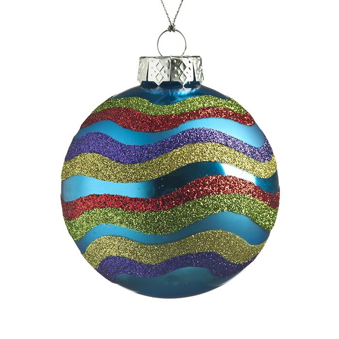 Новогоднее подвесное украшение Its a Happy Day Новогодний, цвет: голубой, золотистый, красный, диаметр 8 см34865Подвесное украшение Its a Happy Day Новогодний, выполненное из стекла, прекрасно подойдет для праздничного декора вашей ели. Оригинальное новогоднее украшение в виде шара оформлено разноцветными блестками. С помощью специальной текстильной петельки его можно повесить в любом понравившемся вам месте. Но удачнее всего такая игрушка будет смотреться на праздничной елке. Елочная игрушка - символ Нового года и Рождества. Она несет в себе волшебство и красоту праздника. Создайте в своем доме атмосферу веселья и радости, украшая новогоднюю елку нарядными игрушками, которые будут из года в год накапливать теплоту воспоминаний.