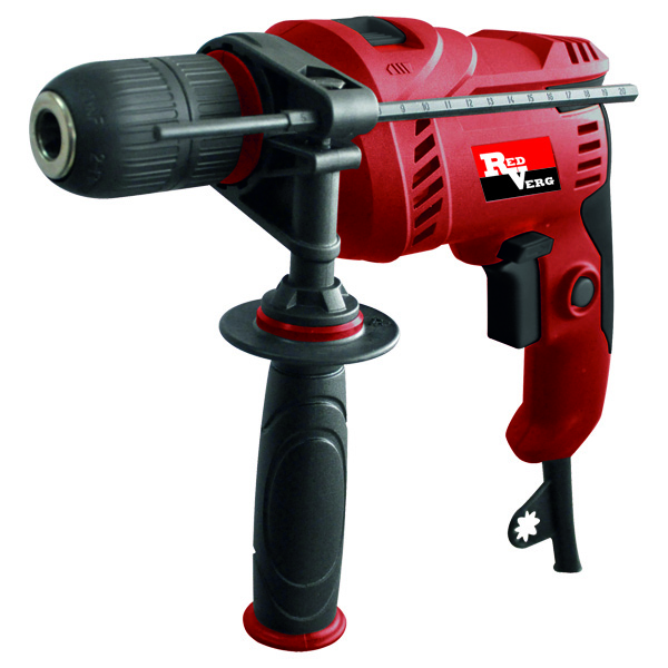 Дрель RedVerg RD-ID600S, ударнаяF0152431LDЛёгкая и компактная ударная дрель с классическим зубчато-венцовым патроном 1,5- 13 мм, предназначена для сверления в металле, древесине и кирпиче. Идеально подходит для домашних пользователей, при частой смене насадок. Преимущества: Быстрозажимной патрон - удобен при частой смене насадок, надёжно фиксирует все свёрла и насадки, не проворачивает в процессе работы. Высокие обороты двигателя - быстрое сверление в различных материалах и различными по диаметру свёрлами. Дополнительная антивибрационная рукоятка - снижает вибрацию на руки оператора на 30%, меньше усталость, комфорт в работе. Обрезиненная рукоятка - удобство и безопасность оператора при выполнении различных работ.