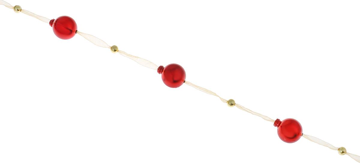 Новогодняя гирлянда Lunten Ranta, на ленте, цвет: красный, бежевый, длина 2 м65676Гирлянда Lunten Ranta идеально подойдет для украшения новогодней ели и декорирования интерьера. Изделие представляет собой ожерелье из пластиковых бусин, нанизанных на ленту. Оригинальный дизайн и красочное исполнение создадут праздничное настроение.Новогодние украшения всегда несут в себе волшебство и красоту праздника. Создайте в своем доме атмосферу тепла, веселья и радости, украшая его всей семьей.Диаметр бусин: 3 см, 0,8 см.