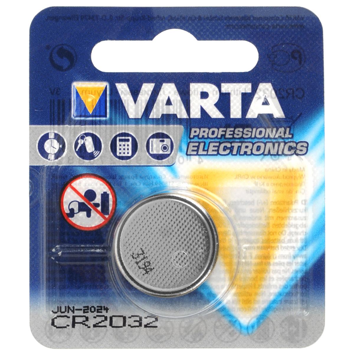 Батарейка литиевая Varta Professional Electronics, тип CR2032, 3ВCR 2032Литиевые батарейки Varta Professional Electronics оптимально подходят для повседневного питания множества современных бытовых приборов: электронных игрушек, фонарей, беспроводной компьютерной периферии и многого другого. Батарейки созданы для устройств со средним и высоким потреблением энергии. Работают в 10 раз дольше, чем обычные солевые элементы питания. Диаметр батарейки: 2 см.