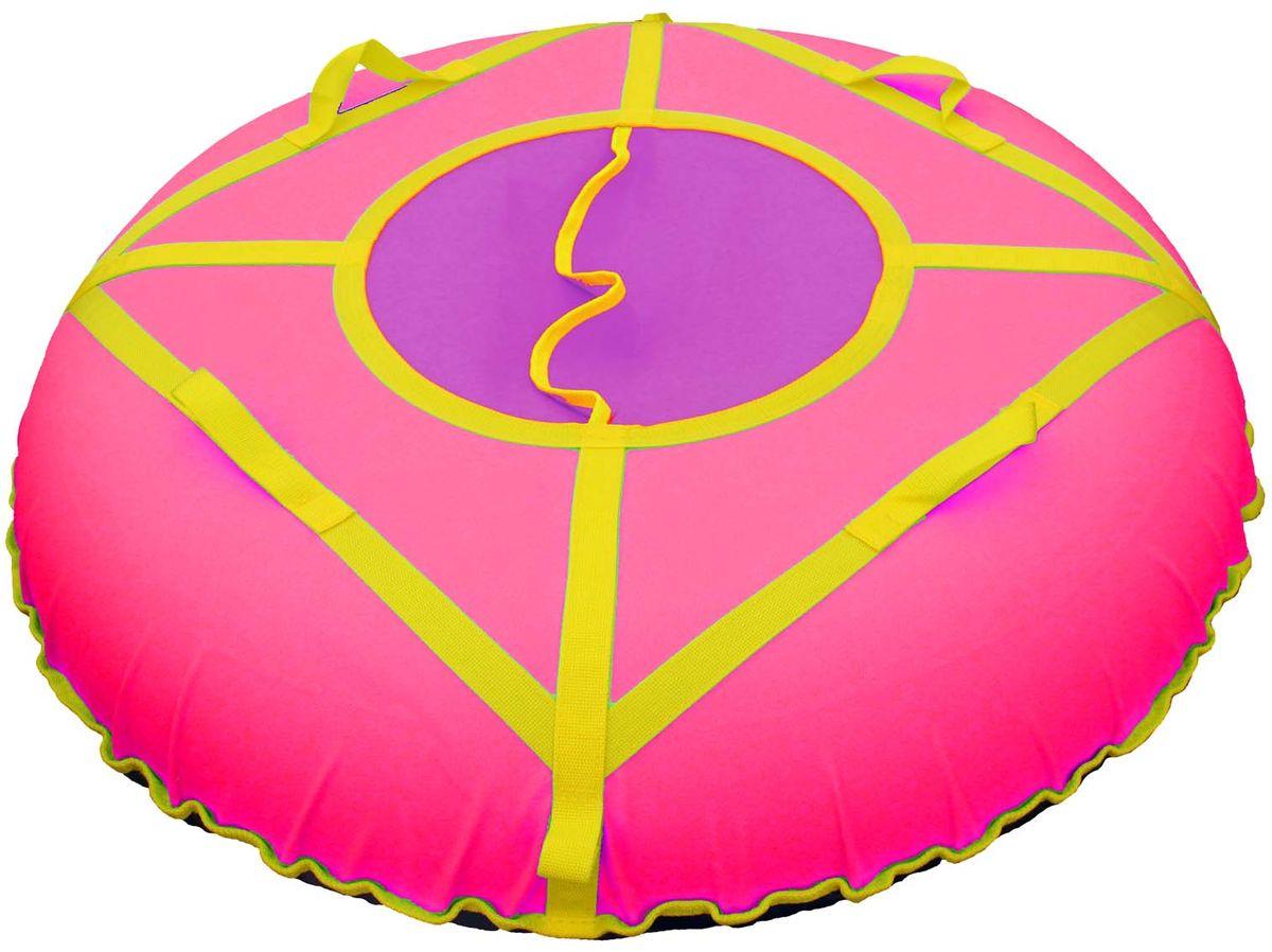 Сани надувные Super Jet Tubing Ultra, диаметр в надутом состоянии 105 см, цвет: розово-фиолетово-синий, Арт.SJT-105TOSF 0085Сани надувные (Тюбинг) для зимнего катания. Модель для взрослых.Центральный сектор защищает от попадания снега внутрь Тюбинга и состоит из двух частей внахлест без дополнительных застежек.Верхняя часть изготовлена из водонепроницаемого материала Oxford 600D из полиамидных волокон с полиуретановой пропиткой и обладает высокой стойкостью к истиранию, сохраняя гибкость и легкость. Нижняя часть изготавливается из прочного южнокорейского тентового ПВХ плотностью 650 г/кв.м. Этот материал при достаточной плотности и стойкости к истиранию, обладает великолепными скользящими свойствами.Характеристики:Диаметр чехла Тюбинга в сдутом состоянии – 120 смДиаметр Тюбинга в надутом состоянии – 105 смВ комплекте усиленная камера из эластичной резины размером 9.0-20.Швы закрыты нейлоновой лентой для увеличения прочности на разрыв.Конструкция этой модели усилена с помощью 8 нейлоновых лент шириной 3 см, на которых расположены 4 мягкие нейлоновые ручки и 2 петли для крепления буксировочной ленты. Прилагается буксировочная нейлоновая лента шириной 3 см и длиной 1,2 метра из нейлона с двумя петлями по концам для крепления к Тюбингу.Максимальная нагрузка - 120 кг;Вес Тюбинга с камерой – 4,6 кгРабочий диапазон температур от -30°С до +40°СУпаковано в сдутом состоянии в запаянный полиэтиленовый пакет с ручками.Гарантийный срок чехла Тюбинга – 1 месяц. Условия гарантии распространяются на швы, швейные соединения, ткань, тент при условии соблюдения правил эксплуатации. На автомобильную камеру гарантия не распространяется. Внутри прилагается инструкция по эксплуатации на русском языке.Внимание! Рекомендуется немного стравить воздух из камеры Тюбинга на улице. Если этого не сделать, то поместив Тюбинг в теплое помещение или в салон автомобиля, воздух начнет расширяться и камера может лопнуть.Верхняя часть - водонепроницаемая ткань Oxford 600D PU. Нижняя часть - тентовый ПВХ
