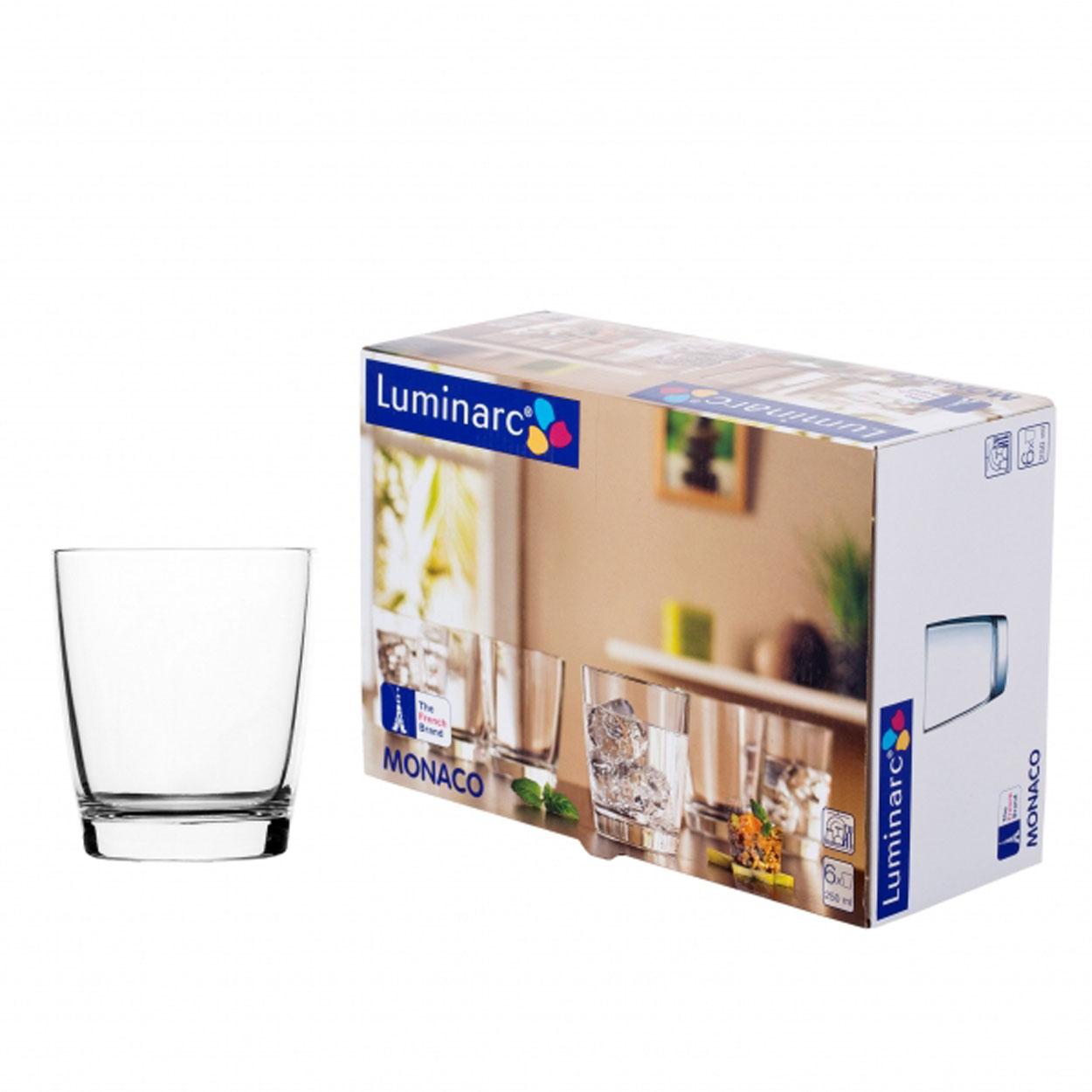 Набор стаканов Luminarc Monaco, 250 мл, 6 штVT-1520(SR)Набор Luminarc Monaco состоит из 6 низких стаканов, выполненных из высококачественного стекла. Изделия подходят для сока, воды, лимонада и других напитков. Такой набор станет прекрасным дополнением сервировки стола, подойдет для ежедневного использования и для торжественных случаев. Можно мыть в посудомоечной машине.Объем стакана: 250 мл.Высота стакана: 8,7 см.Диаметр стакана: 7,5 см.