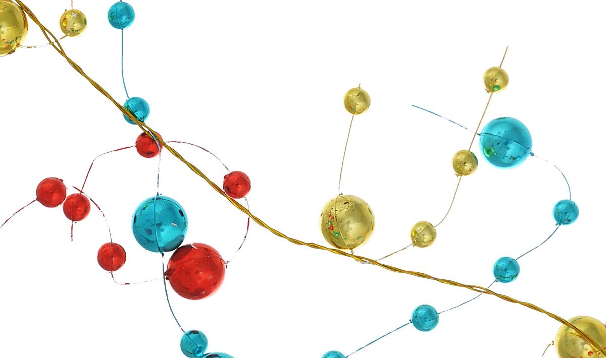 Новогоднее украшение Lunten Ranta Бусы. Веточки, цвет: золотистый, красный, бирюзовый, 2 м66311Новогоднее украшение Lunten Ranta Бусы. Веточки отлично подойдет для декорации вашего дома и новогодней ели. Изделие, выполненное из пластика, представляет собой гирлянду, на леске, на которой нанизаны круглые бусины разного размера. Новогодние украшения несут в себе волшебство и красоту праздника. Они помогут вам украсить дом к предстоящим праздникам и оживить интерьер по вашему вкусу. Создайте в доме атмосферу тепла, веселья и радости, украшая его всей семьей. Диаметр бусин: 1 см; 0,5 см.