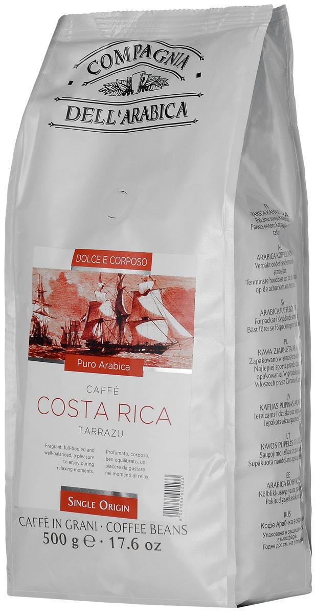 Compagnia DellArabica Costa Rica кофе в зернах, 500 г0120710Compagnia DellArabica Costa Rica - насыщенный коста-риканский сорт 100% арабики из легендарного региона Тарразу. Кофе обладает удивительно мягким вкусом со сладким цветочным букетом, нежным ароматом, и легкой кислинкой. Идеально подходит для приготовления эспрессо и напитков на его основе, любыми традиционными способами.