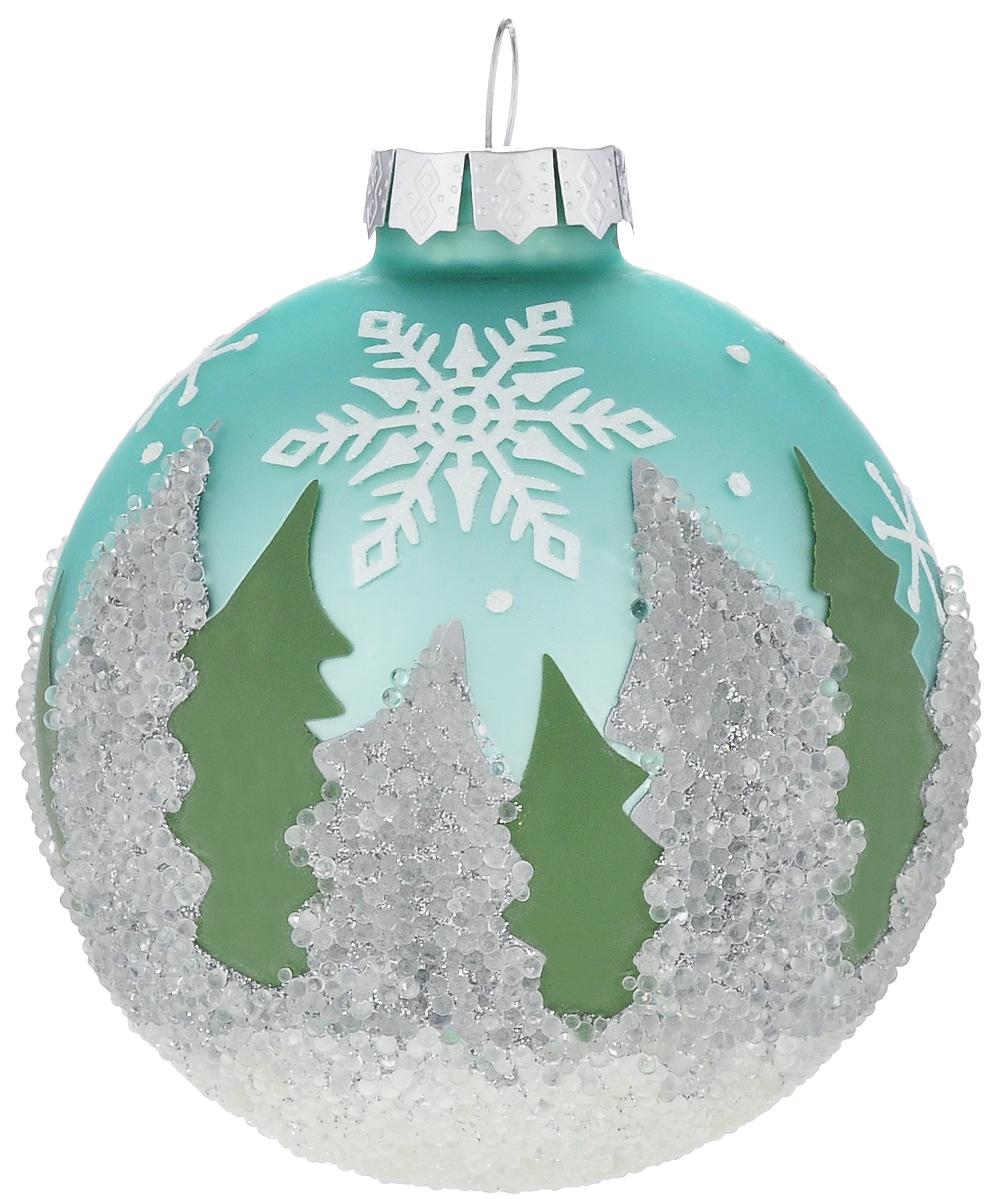 Новогоднее подвесное украшение Its a Happy Day Зимний лес, диаметр 8 см38221Подвесное украшение Its a Happy Day Зимний лес, выполненное из стекла, прекрасно подойдет для праздничного декора вашей ели. Оригинальное новогоднее украшение в виде шара оформлено блестками и стразами. С помощью специальной текстильной петельки его можно повесить в любом понравившемся вам месте. Но, конечно, удачнее всего такая игрушка будет смотреться на праздничной елке. Елочная игрушка - символ Нового года и Рождества. Она несет в себе волшебство и красоту праздника. Создайте в своем доме атмосферу веселья и радости, украшая новогоднюю елку нарядными игрушками, которые будут из года в год накапливать теплоту воспоминаний.