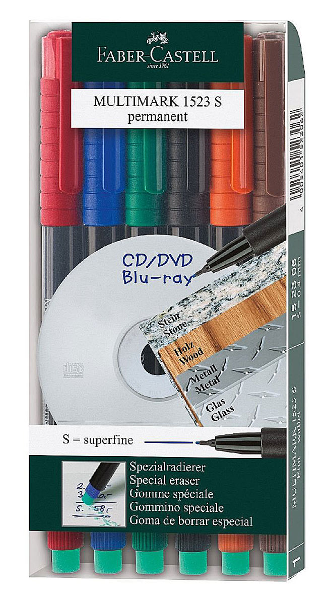 Faber-Castell Капиллярная перманентная ручка Multimark S для письма на CD 6 цветовPARKER-S0850450Капиллярная перманентная ручка Multimark предназначена для письма на CD, DVD дисках, пленках для проекторов и других гладких поверхностях. Ручка с обратной стороны содержит специальный ластик для стирания чернил. Чернила быстросохнущие, с яркими цветами, корпус изготовлен из прочного пластика. В наборе 6 цветов: черный, красный, синий, зеленый, коричневый, оранжевый.
