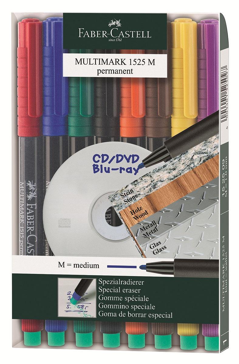 Faber-Castell Капиллярная перманентная ручка Multimark M для письма на CD 8 цветов152509Капиллярная перманентная ручка Multimark предназначена для письма на CD, DVD дисках, пленках для проекторов и других гладких поверхностях. Ручка с обратной стороны содержит специальный ластик для стирания чернил. Чернила быстросохнущие, с яркими цветами, корпус изготовлен из прочного пластика. В наборе 8 цветов: черный, красный, синий, зеленый, коричневый, оранжевый, фиолетовый, желтый.