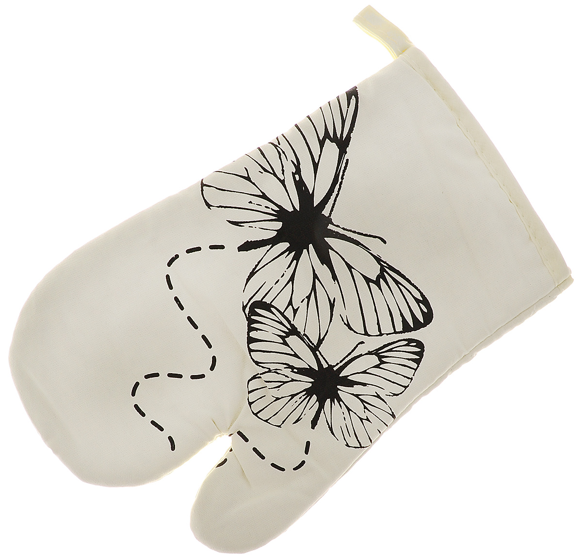Варежка-прихватка Bon Appetit Бабочка, 17 см х 27 смVT-1520(SR)Варежка-прихватка Bon Appetit Бабочка, изготовленная из 100% хлопка, оформлена оригинальным и ярким рисунком. Прихватка предназначена для защиты рук от воздействия высоких температур и появления ожогов. Изделие оснащено петелькой, за которую его можно повесить в любое удобное место. Такая прихватка станет отличный вариантом подарка для практичной и современной хозяйки.